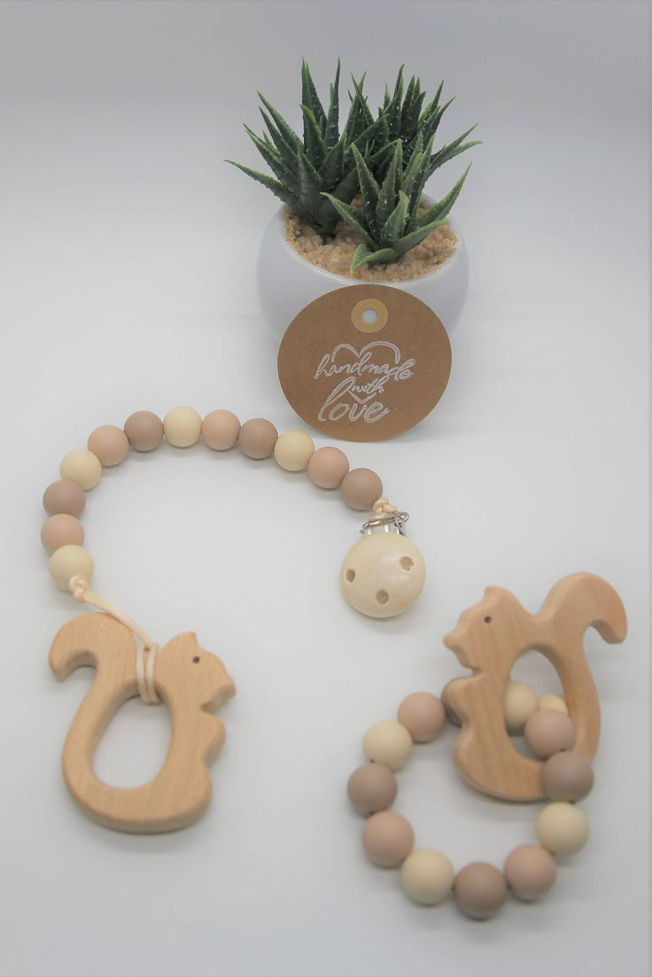 Squirrel Wood Teether, Pacifier Clip, Teething Bracelet, Gift Set, Dummy Clip, Soother Clip, Nursing Bracelet, Chew Toy, Wooden Teether by PeasinapodboutiqueCA on Etsy