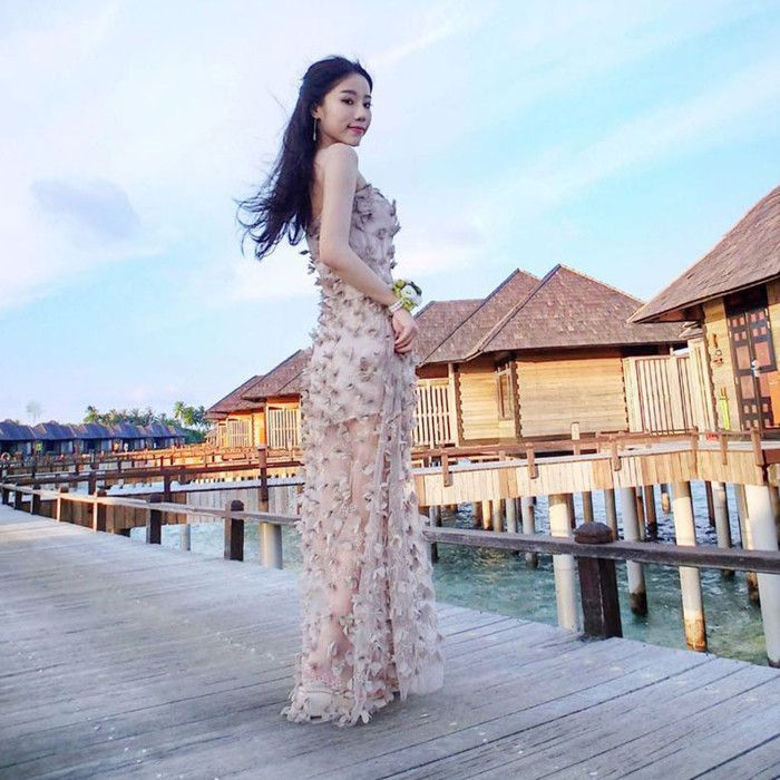 2016 Women Sexy Strapless off the shoulder luxury 3d petal embroidery Long Beach party dress Perspective Gauze Maxi floor length