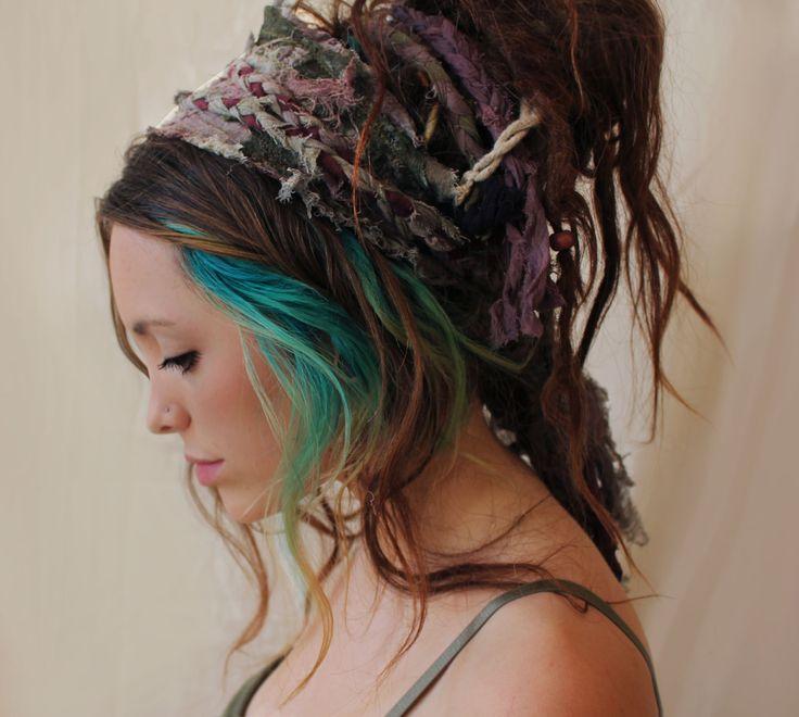Lady fern tattered dreadlock headband wrap