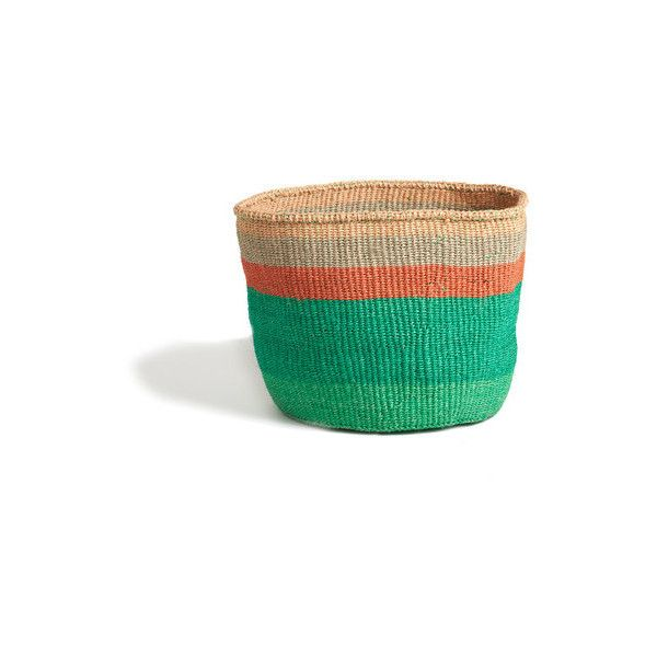 Emerald Basket with Peach Stripes Kenya ($59) ❤ liked on Polyvore featuring home, home decor, small item storage, handwoven baskets, striped basket, hand woven baskets, peach basket and emerald green home decor