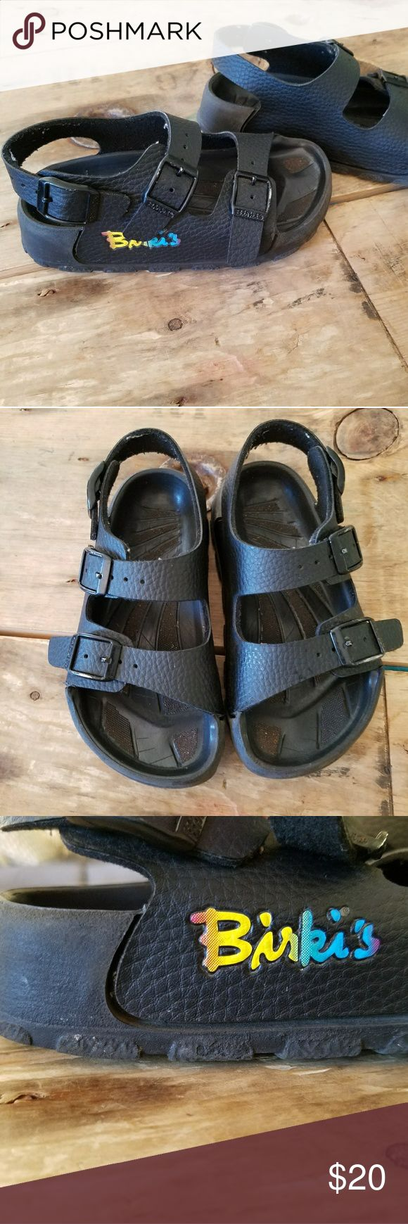 Little kids Black Leather Birkenstock Birkis SZ 27 Little kids Birkis, size 27. Black leather straps and black rubber sole. Buckles all work. These sandals are pre-owned but still have a lot of life left in them! Awesome for either boy or girl, stay on good and seem to be a very comfortable fit. Birkenstock Shoes Sandals & Flip Flops