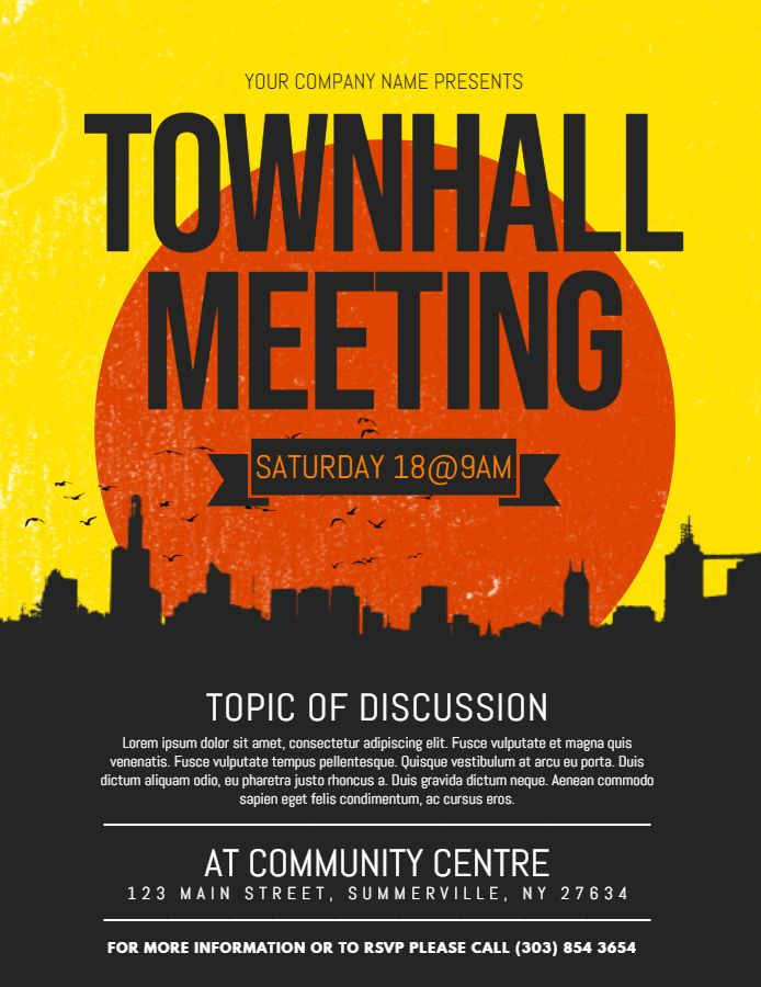 modern town hall meeting poster flyer template family and