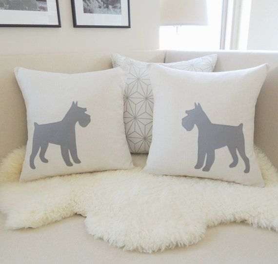 Schnauzer Pillow Cover Pair, Dog Silhouette Appliqués - Mini Miniature, Standard or Giant Schnauzers - Oatmeal & Pewter Gray - Modern 18x18 on Etsy, $118.00