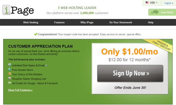 Get Web hosting Plan for just $1.00/month + A Free Domain Name at iPage. Checkout ipage coupons@ http://www.updatedreviews.in/hosting-coupon/ipage