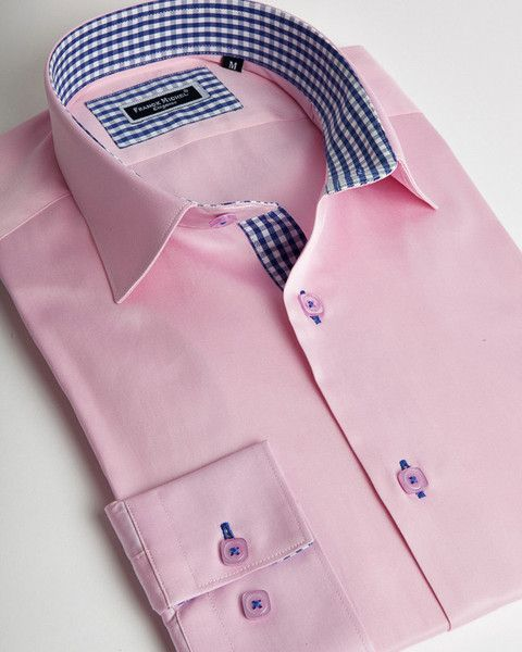 Franck Michel shirt | Light pink italian shirt for men with blue vichy cuffs and collar interior | fashion-shirts.com