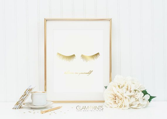 Lashes Eyelashes Falsies Makeup Gold Foil Print Art Design Sign Picture Vanity Makeup Room Bathroom 8.5x11 Multiple Sizes Believe LOVE Girly  This