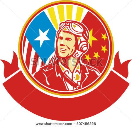 Illustration of a world war two pilot airman aviator smiling looking to the side with USA and China flags in the background in the background set inside circle done in retro style.  #aviator #retro #illustration