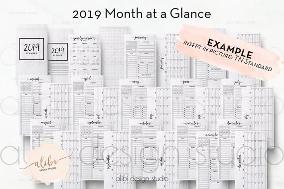 B6 Tn Monthly Planner 2019 Calendar For Travelers Notebook Tn