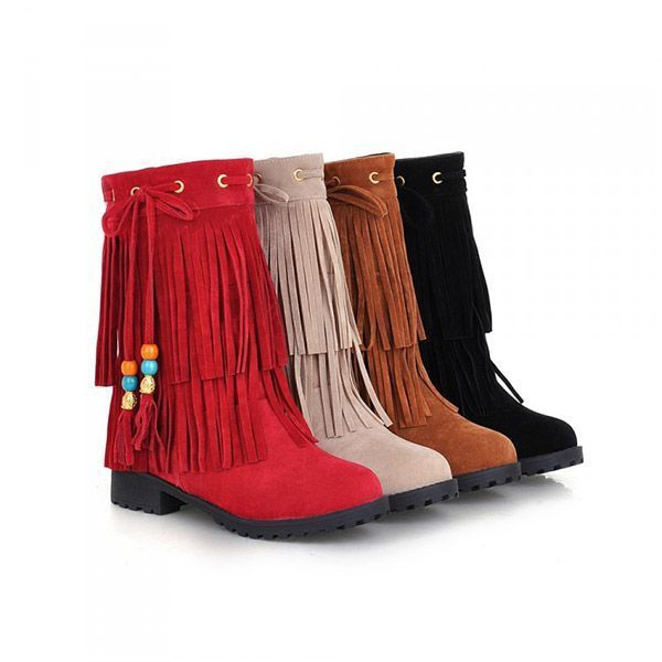 Big size women flat ankle boots ladies tassels ankle short boots slip on boots boots dsw #boots #5e #boots #6x4 #prints #boots #mens #fashion #k #boots #by #clarks