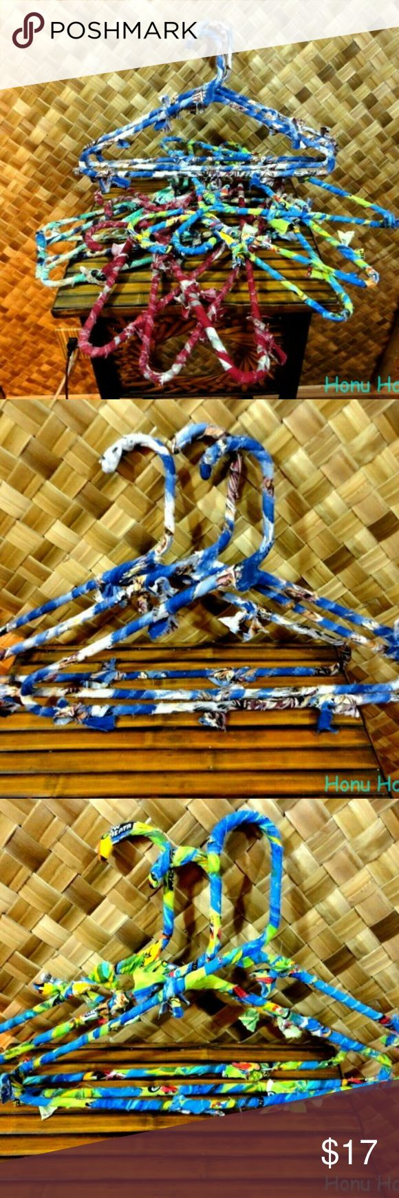 Lot of 12 - HAWAIIAN RECYCLED SHIRT RAG HANGERS Beautiful, colorful, and Recycled! This listing is for 12 ( 1 dozen ) rag wrapped hangers made from Hawaiian shirts that had damage and could not be sold to wear. These are regular adult size hangers. Benefits to these hangers are that they are made of material so your clothing won't slide off, clothing won't get rust on them like wire hangers can leave, and best of all recycled to better our planet. Hand Made Other