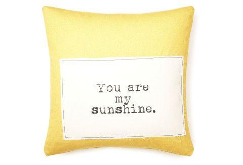 "One Kings Lane - Pillow Talk - ""My Sunshine"" 20x20 Pillow, Yellow"