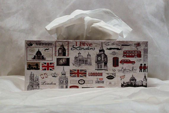 London Themed Tissue Box Cover Wooden Tissue Box Cover #tissueboxcover #londontheme #decoupage #decoupagetissuebox #decoupagelover #decoupagebox
