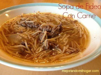 """A mis hijos les encanta la """"sopa agüada"""" como se dice en México, una de las favoritas en mi cocina es la Sopa o pasta de Fideo con Carne Molida de Res, es la Receta de mi Abuela, queda para chuparse los dedos, ojalá te guste. Receta Sopa Agüada de Fideo con Carne Molida de Res …"""