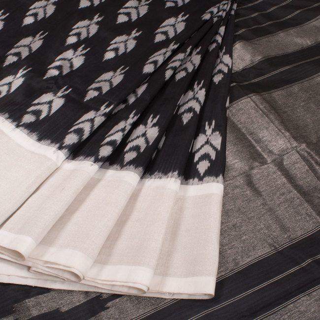 Buy online Handwoven Black Ikat Silk Saree With Floral Motifs 10015025