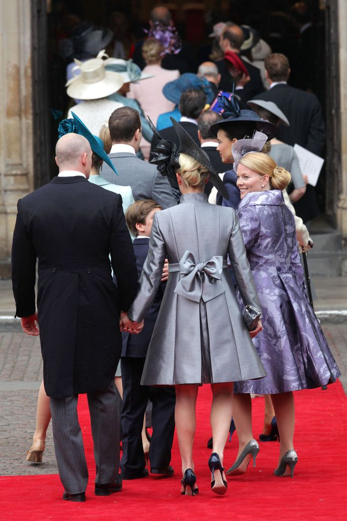 Arriving for the wedding of Prince William and Kate Middleton - Zara Phillips and fiancé Mike Tindall, ahead of them are Peter Phillips and wife Autumn, Lord Frederick Windsor and his wife Sophie.