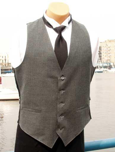 stu- black tie, black pants, gray vest