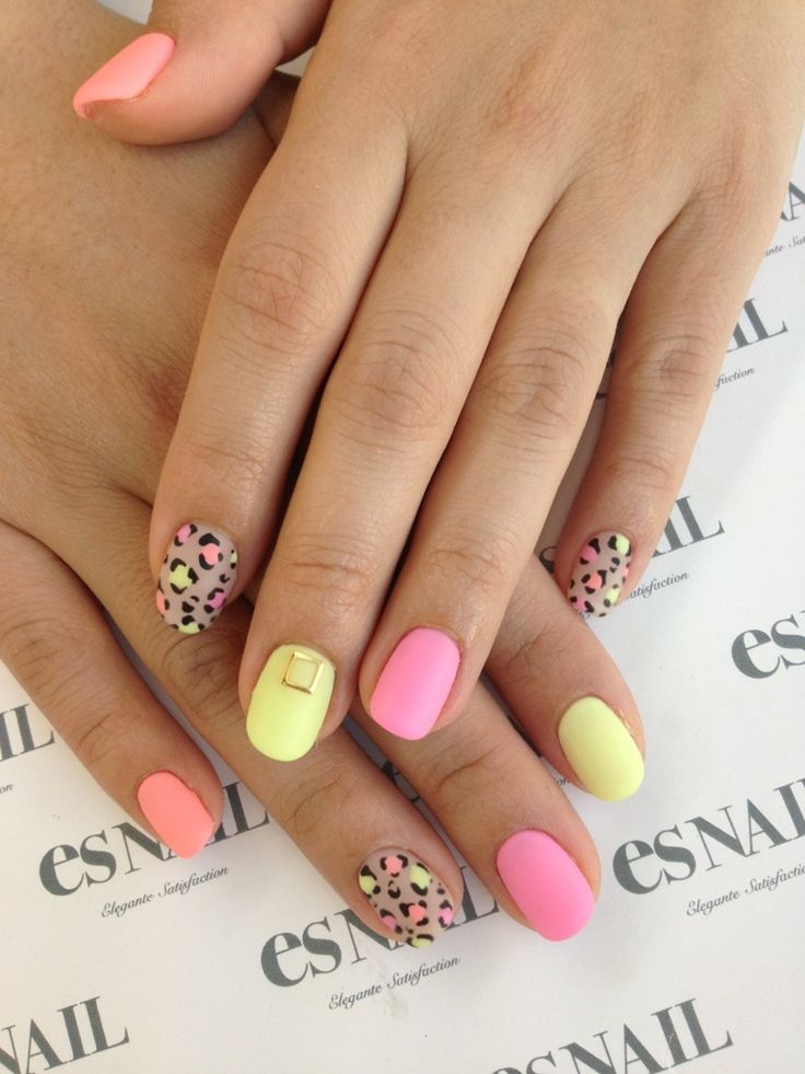 leopard and neon nails