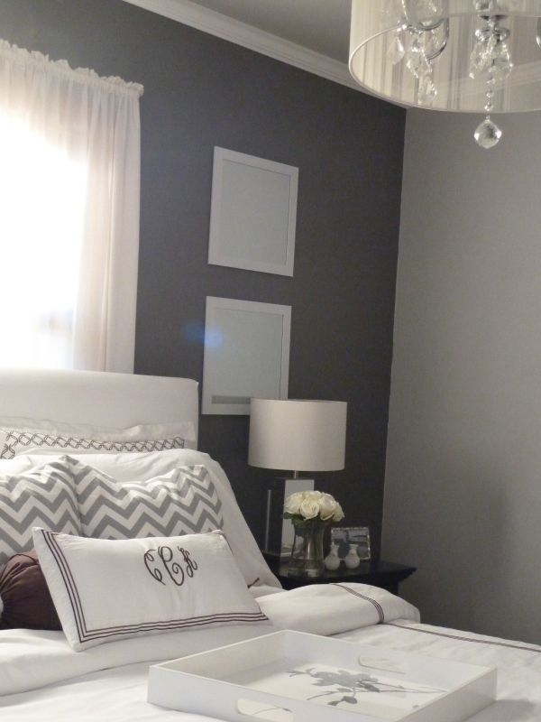 gray, white, bed in front of window- raise curtains to ceiling though