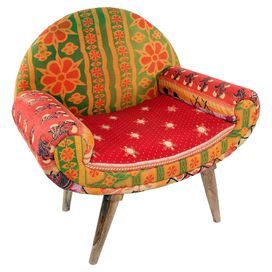 Showcasing A Midcentury Inspired Silhouette And Vintage Kantha Cloth  Upholstery, This One Of A Kind Arm Chair Brings Bright Bohemian Inspired  Style To Your ...