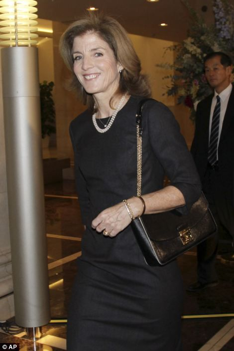 New U.S. Ambassador to Japan Caroline Kennedy smiles after making a remark on her visit 19 Nov 2013