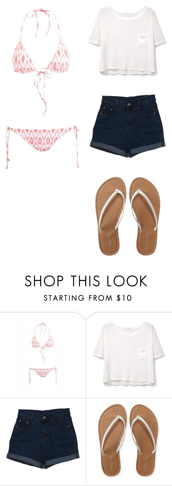 """Classic and Easy pool party outfit"" by katyforever on Polyvore featuring Melissa Odabash, MANGO and Aéropostale"