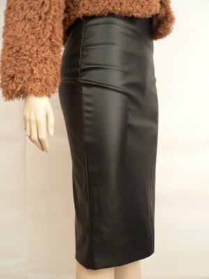 Sexy Black Leather Style Pencil Skirt