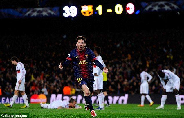 Magical: Lionel Messi celebrates after vanquishing Milan's first leg advantage