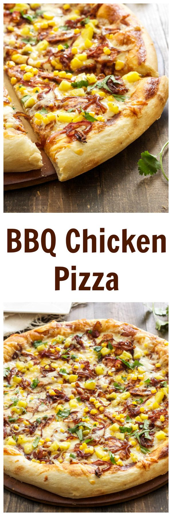 A delicious BBQ chicken pizza topped with caramelized onions, corn, pineapple, and cilantro!