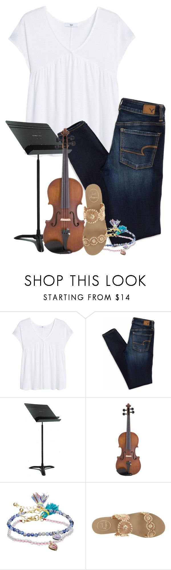 """""""Violin Lessons"""" by simply-grace ❤ liked on Polyvore featuring MANGO, American Eagle Outfitters, Manhasset, LE'VAR, ASOS and Jack Rogers"""