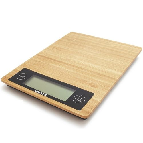Add a modern touch to your kitchen while going green at the same time with this bamboo electronic kitchen scale from Salter