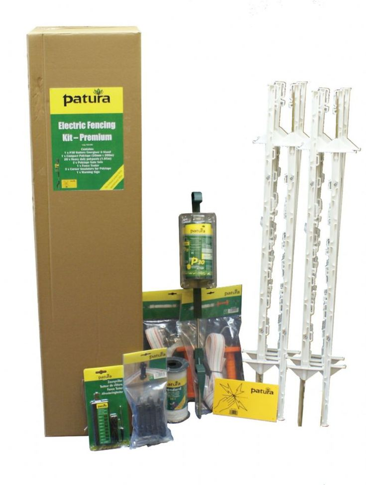Electric Fencing Starter Kit - Premium 1 05m Posts Will fence approx 200m Consists of 1 x P30 energiser and stand 1 x Compact polytape 20mm x 200m 20 x Heavy Duty polyposts (1.05m) 2 x Polytape gate sets 1 x Fence Tester 3 x Corner Insuators 2 x Ring Insulators 1 x Warning Sign