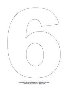 Dibujos de números para colorear: Número 6 para colorear