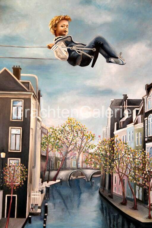 Durf | Caroline Mulders | Schilderij | Kind | Gracht | Huizen | Schommel | Grachtenpand | Brug | Bomen | Kunst | Art | Figurative