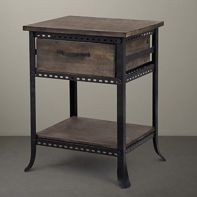 steampunk nightstand accent end table with drawer shelf rustic industrial 780