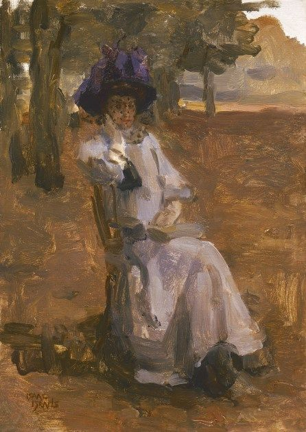 'Isaac' Lazarus Israels (Amsterdam 1865-1934 Den Haag) An elegant lady on a chair, Bois de Boulogne - Dutch Art Gallery Simonis and Buunk Ede, Netherlands.