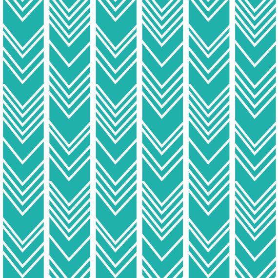 Teal Boho Geometric Fabric Light Sea Green by Spoonflower