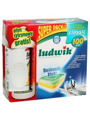 LUDWIK 100szt Classic Tabletki do zmywarek + cytrynowy płyn do mycia naczyń 1l  • zapewniają dokładne zmywanie • nabłyszczają szkło i stal • zmiękczają wodę • działa już w 30oC