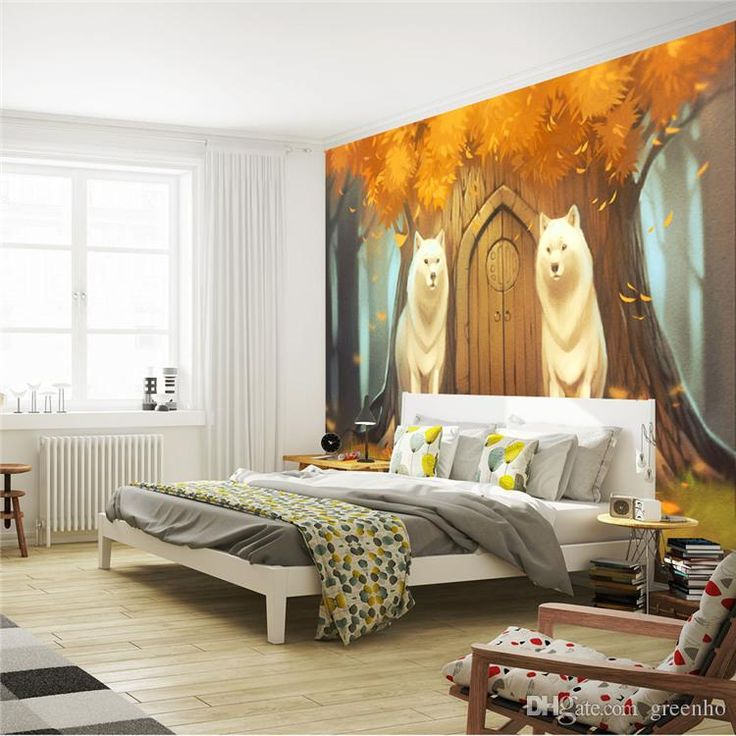 Cartoon wall mural customize photo wallpaper forest wolf for Children room mural