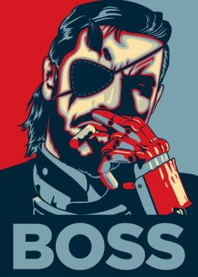 big boss snake mgsv metal gear video game solid red blue poster yellow