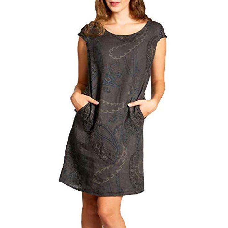 Caspar SKL022 knielanges Damen Sommer Leinenkleid mit Paisley Print bis Größe …