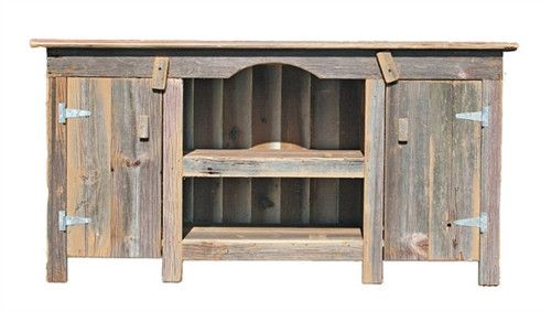 Rustic Country Furniture TV Stand With Two Doors And Two Shelves TN21