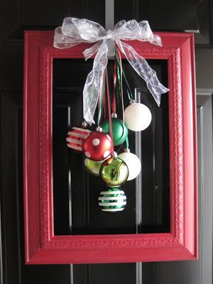I love these ornament ideas. First, something other than a wreath for the front door. Feels kind of modern to me.