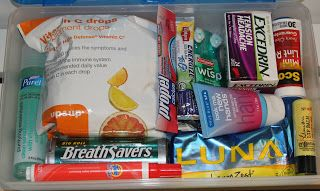 Teacher/Office/New Job Survival Kit -love the Wisp idea! breath savers, VitC chews, excedrin, purel, lotion, lip balm, energy bar, drink packets, tide-to-go & cough drops (for all the talking)