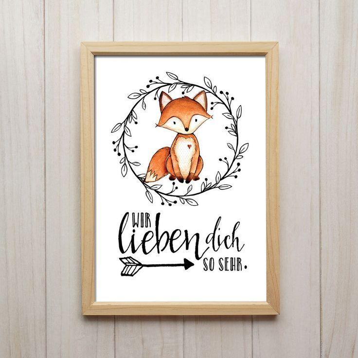 Bild Wir Lieben Dich Kunstdruck DIN A4 Fuchs Spruch Tiere Druck Kinderzimmer – #…