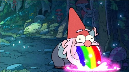 17 Gravity Falls GIFs To Brighten Up Your Day - Gnome Puking Rainbow.  Ultimate win.