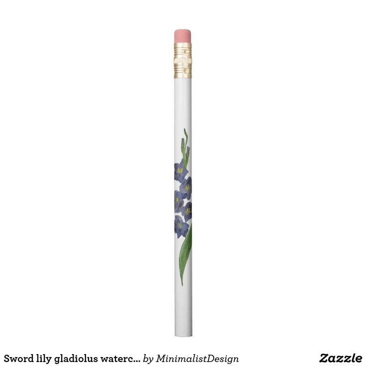 Sword lily gladiolus watercolor painting pencil Pencil custom printing, pencil minimalist, gladiolus flower clip art, sword lily art online, sword lily watercolor, purple gladiolus watercolor, gladiolus watercolor paintings, pencil custom made, Copyright © 2017, Anca Ioviţă #zazzle #minimalism