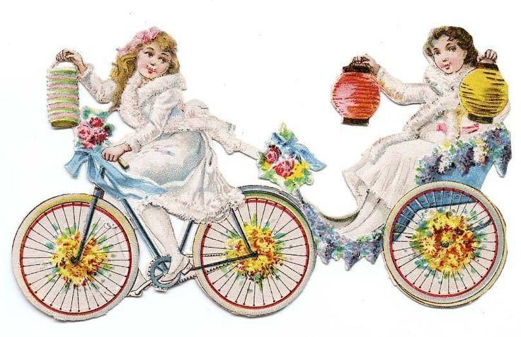 DECOUPI ANCIEN JEUNES FILLES A BICYCLETTE AVEC LAMPIONS fr.picclick.com