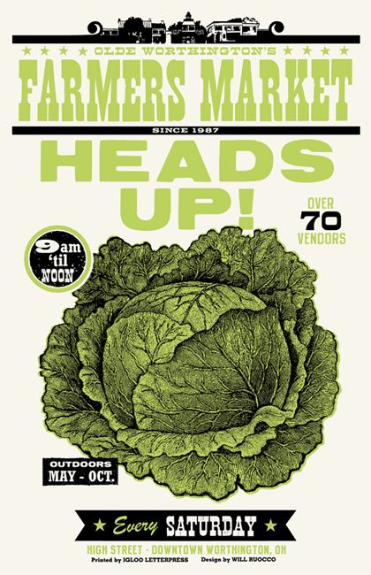 HEADS UP! Farmer's Market Poster by Will Ruocco, via Behance
