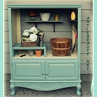 old entertainment center turned into a potting shed  ~hometalk site