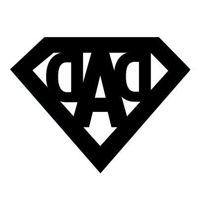 """un logo """"Super Dad"""" (inversé pour découpe ou transfert : pour l'utiliser """"à l'endroit"""", utiliser la fonction """"miroir"""" de votre logiciel ou de votre imprimante)"""